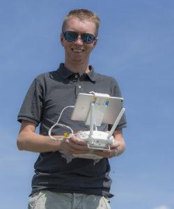 Binne aan het werk met de drone